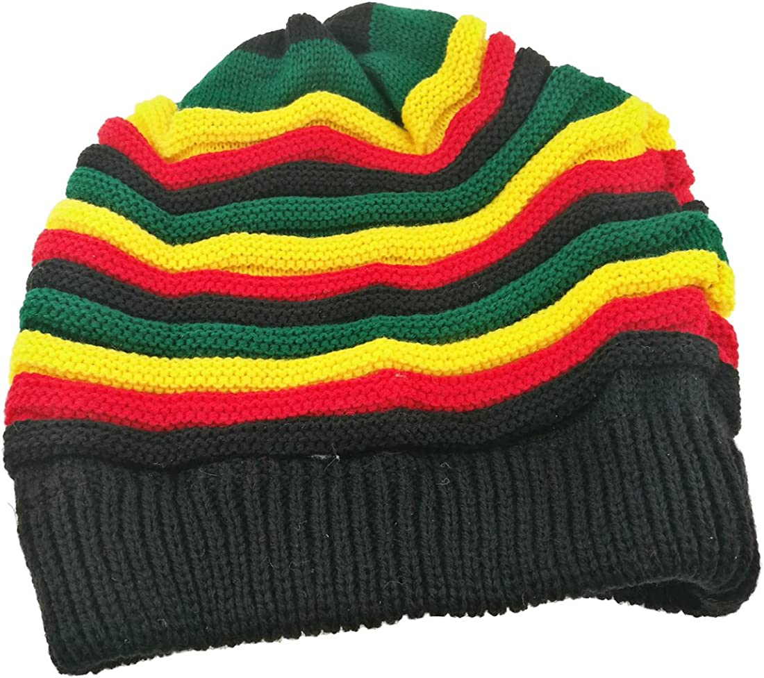 Colored Striped Long Style Hip-hop Directly managed store Today's only Jamaica Knitted Hat-The Hairy