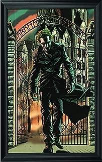 Joker Arkham Asylum Wall Art Decor Framed Print | 24x36 Premium (Canvas/Painting Like) Textured Poster | DC Comics Batman Superhero Fan Picture & Artwork | Memorabilia Gifts for Guys & Girls Bedroom