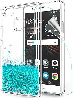 LeYi Funda Huawei P9 Lite Silicona Purpurina Carcasa con HD Protectores de Pantalla,Transparente Cristal Bumper Telefono Gel TPU Fundas Case Cover para Movil Huawei P9 Lite ZX Turquoise