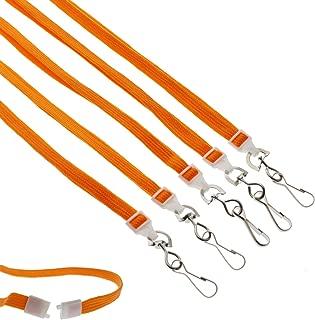 "25 Pack - Premium Breakaway Lanyards for ID Badges - Metal Swivel J Hook - 3/8"" Wide - 36 Inch Length - Flat Woven by Specialist ID (Orange)"