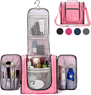 Large Hanging Travel Toiletry Bag for Men and Women Waterproof Makeup Organizer Bag wash bag Shaving Kit Cosmetic Bag for Accessories, Shampoo,Bathroom Shower, Personal Items Pink/Grey