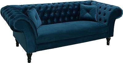 fa165917248f62 Chesterfield Sofa CONTESSA Samt königsblau mit 2 Kissen Couch Barock Stil  Zweisitzer 2er Sofa