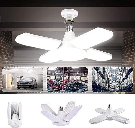 LED Luz de garaje AC 85-265V 60W Luces de techo plegables deformables con 4 paneles ajustables 6000-6500k Luz blanca natural para garaje Almacén Taller Sótano Gimnasio Cocina