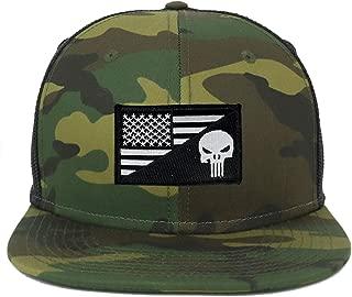 Oversize XXL Punisher Black White USA Flag Patch Camouflage Flatbill Mesh Snapback Cap