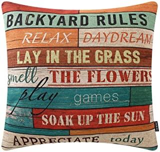 TRENDIN Wooden Plank Backyard Rules Throw Pillow Cover 20x20 inch Backyard Decor Cotton Linen Cushion Case for Sofa Couch PL504TR20