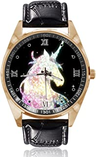 Galaxy Unicorn Wrist Watch Unisex Fashion Black Leather Strap Stainless Steel Round Gold Dial Plate Wristwatch