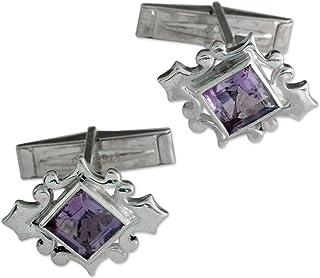 NOVICA Amethyst .925 Sterling Silver Men's Cufflink, Orchid'