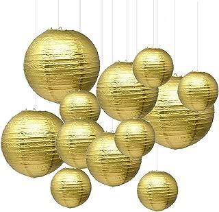 Renohef Gold Round Paper Lanterns,Metal Framed Hanging Lanterns 12pcs,6inch,8inch,10inch,12inch 4 Sizes,Birthday Wedding Party Supplies Favors Hanging Decoration