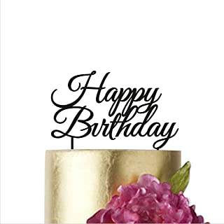 HappyPlywood Happy Birthday Cake Topper Cake Decorations Supplies Baby Birthdays Gold Silver Party Decor Cake Toppers for Birthday (width 6