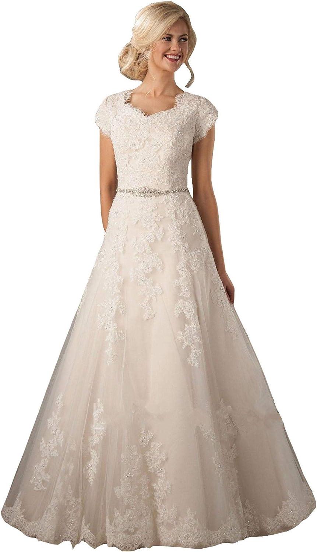 Lazacos Women's Cap Sleeve Modest Lace Applique Beaded Button A-Line Wedding Dress