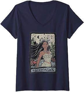 Femme Disney Pocahontas Vintage Portrait Style T-Shirt avec Col en V