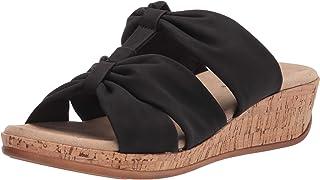 Easy Street Women's Wedge Sandal, Black, 7.5 X-Wide