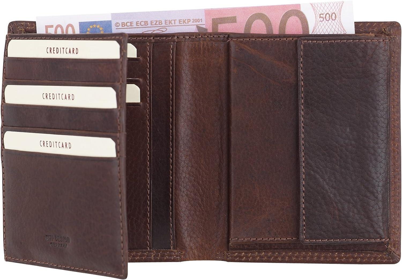 HJP Design Herren-Kombigeldbörse Leder in braun - - -  Authentic Throphy  6304 B005GWX8NS fa0403