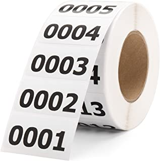 Shiplies Consecutive Number Labels Inventory Stickers for Office Supplies, Inventory, Warehouse and Organizing (1.6 ×0.8 Inches , 1-1000)