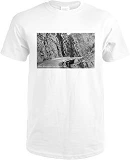 Colorado - Thompson Canyon Curved Bridge between Cliffs Photograph 32116 (Premium White T-Shirt Large)