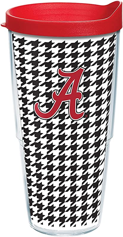 Tervis 1082468 Alabama Crimson Tide Houndstooth Tumbler With Wrap And Red Lid 24oz Clear