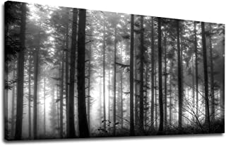 yearainn Foggy Forest Canvas Wall Art Black and White Woods Canvas Picture Large Modern Landscape Artwork Big Trees Contemporary Nature Picture for Home Office Wall Decor 20