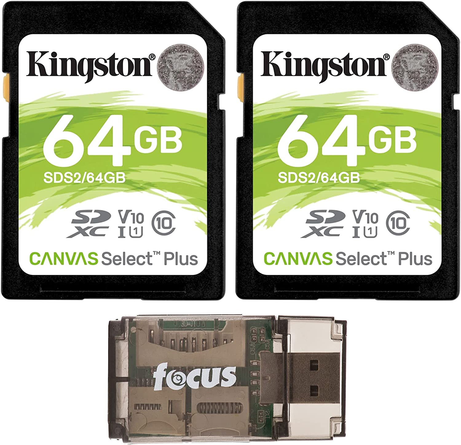 Kingston 64GB SDHC Canvas Select Plus Memory Card (2-Pack) with Focus High Speed Card Reader Bundle (3 Items)