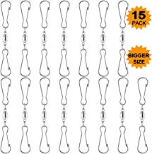 Listenman 15 Pack Large Swivels Smooth Spinning Dual Clips, Wind Spinner Hangers Spiral Tails Twisters Wind Socks for Party Supply Kites Small Plants Pots Bird Feeders Rot