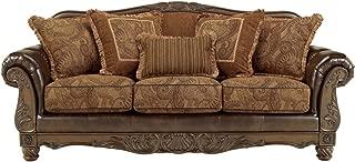 Ashley Furniture Signature Design - Fresco Sofa with 5 Pillows - 3 Seats - Grand Elegance - Brown