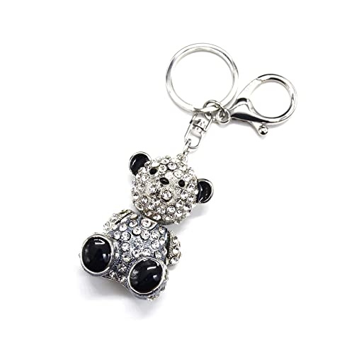 f2e6f203b3d9 pt1278e Articulated Teddy Bear Keyring Bag Charm – Silver Grey Metal with  Rhinestones
