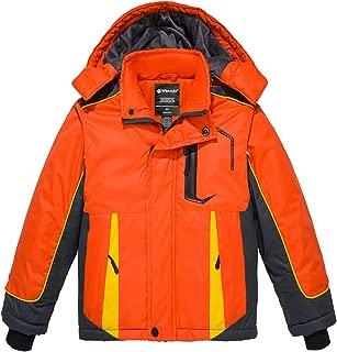 Boy's Waterproof Ski Jacket Hooded Windbreaker Fleece Lined Winter Coat