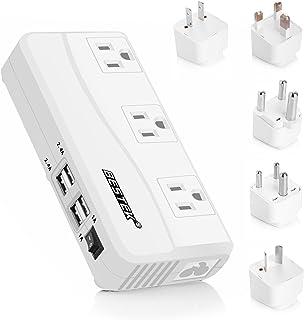 BESTEK International Power Adapter, 220V to 110V Step Down Travel Voltage Converter with 4-Port USB Including US/AU/EU/UK//India/South Africa Plug Adapter, 200W