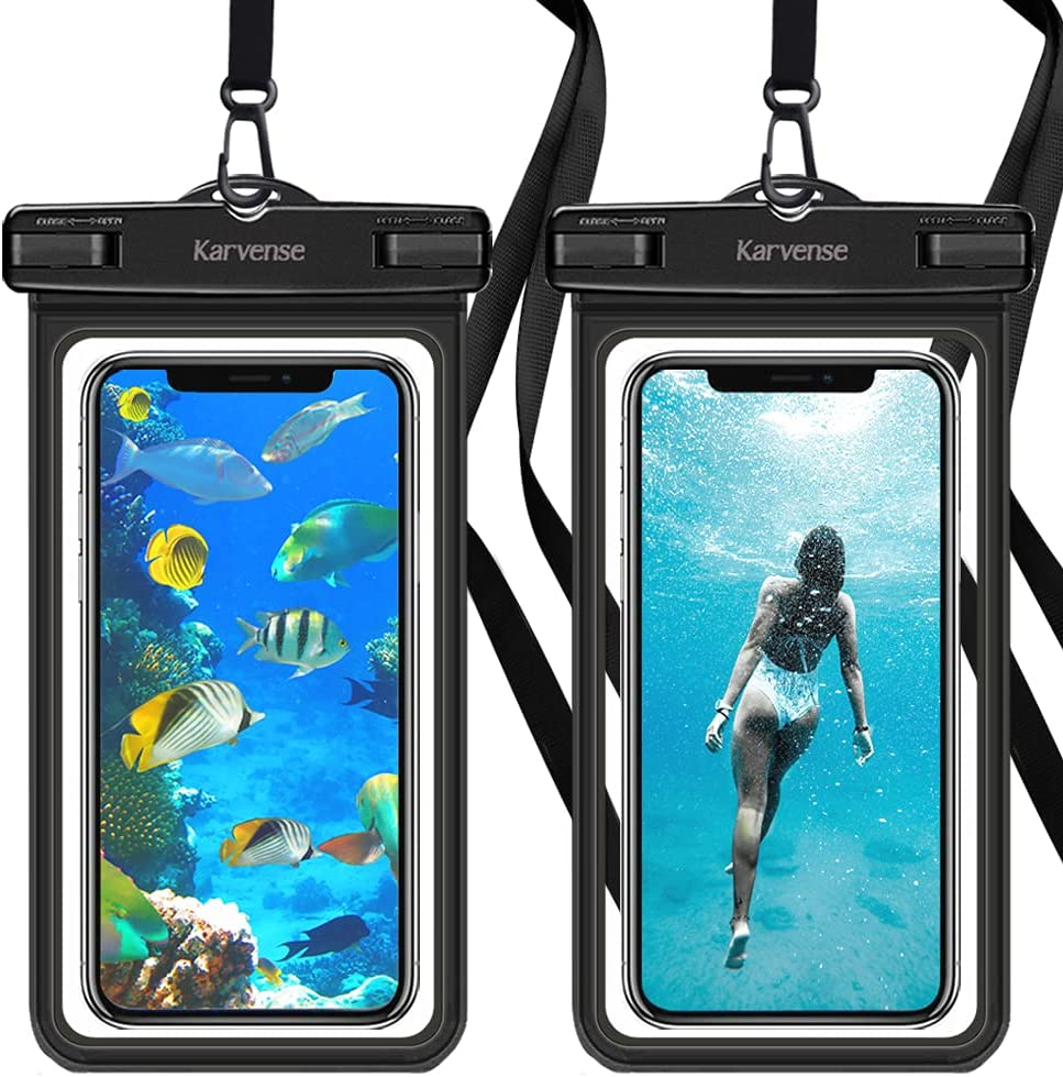Waterproof Phone Case, Karverse Waterproof Phone Pouch/Bag/Holder for iPhone, Samsung Galaxy, Moto, Pixel, up to 7-inch, Universal Cell Phone Dry Bag with Lanyard for Beach, Kayaking, Shower-2 Pack