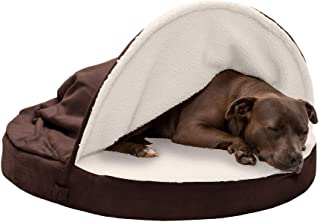 FurHaven Pet Dog Bed   Cooling Gel Memory Foam Orthopedic Round Faux Sheepskin Snuggery Pet Bed for Dogs & Cats, Espresso,...
