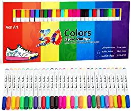 Fabric Markers Pen 30 Colors Permanent Paint Art Marker Set for Writing Painting on T-Shirts Clothes Sneakers Canvas Shoes, Child Safe & Non-Toxic