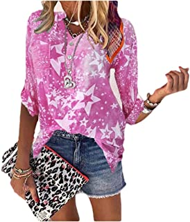 HEFASDM Women Floral Print Lounge Long Sleeve Blouse V-Neck Tees Top