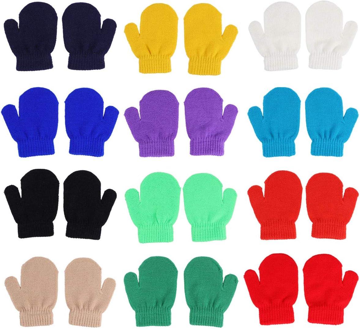 PRETYZOOM 12 Pairs of Acrylic Gloves Children' Winter Warm Monochrome Knitted Gloves