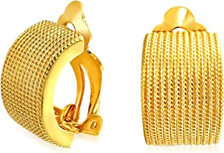 Twisted Cable Rope Wide Half Hoop Clip On Earrings For Women Non Pierced Ears Rose Silver Plated Brass