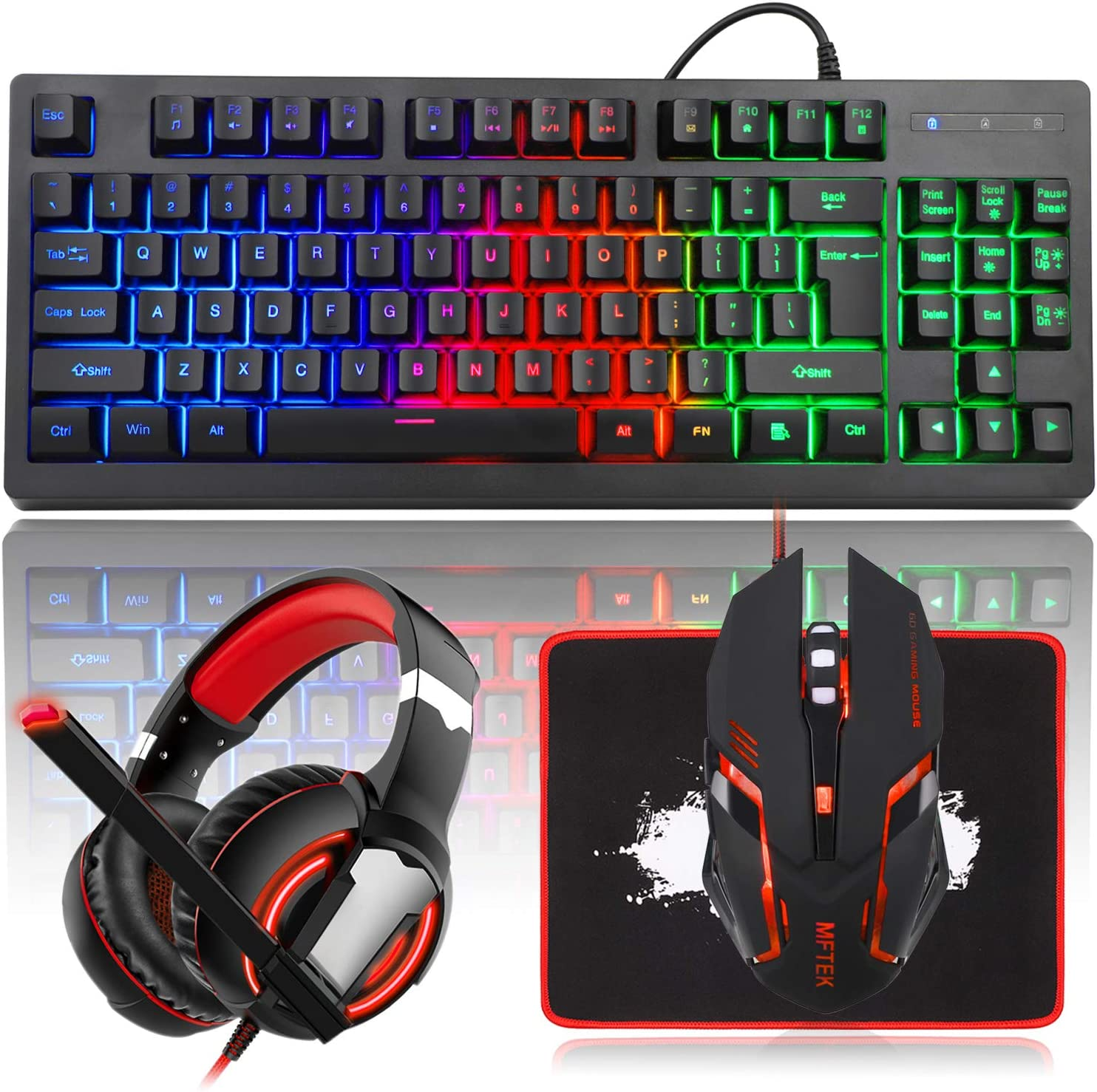 MFTEK RGB Rainbow Backlit Gaming 1 Sales of SALE items from new works year warranty Keyboard Mouse LED P Combo and
