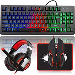MFTEK RGB Rainbow Backlit Gaming Keyboard and Mouse Combo, LED PC Gaming Headset with Microphone, Large Mouse Pad, Small C...
