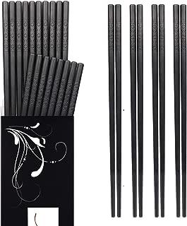 Chopsticks - 10 Pairs Reusable Fiberglass Alloy Chopstick Set, Dishwasher Safe (Pure Black) (A)