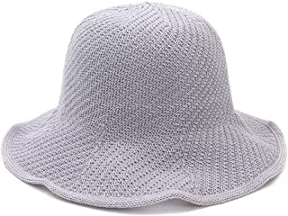 HongJie Hou Spring and Summer Outdoor Sun hat Beach Female Bamboo and Linen Dome Folding Basin Cap Visor Fisherman hat (Color : Grey, Size : One Size)