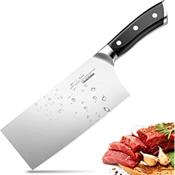 SKY LIGHT Cleaver Knife, 7 Inch Butchers Knife German High Carbon Stainless Steel Kitchen Meat Chopper Razor Shape Chef's Knives with Ergonomic Handle