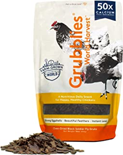 Grubblies World Harvest– Natural Grubs for Chickens - Chicken Feed Supplement with 50x Calcium, Healthier Than Mealworms -...