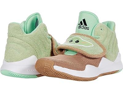 adidas Kids Deep Threat (Big Kid) (White/Cardboard/Glow Pink) Girl