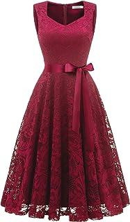Gardenwed Women's Vintage Floral Lace Cocktail Formal Swing Dress Short V-Neck Bridesmaid Party Dress