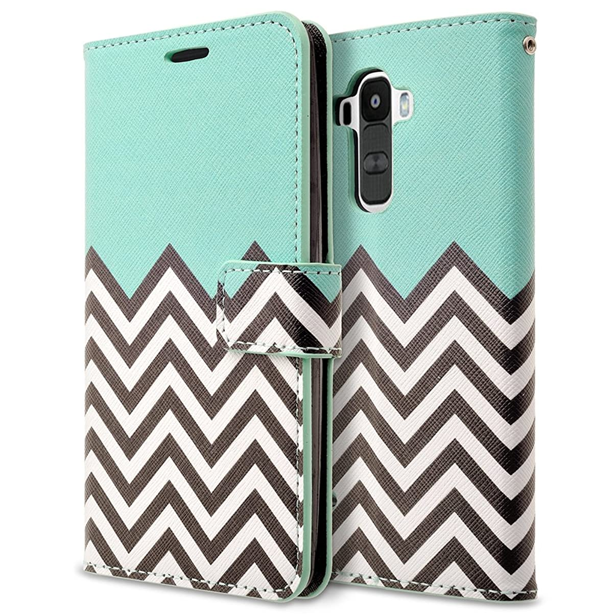 LG G Stylo Case, RANZ Stylish Design Deluxe PU Leather Folio Flip Book Wallet Pouch Case Cover (Teal Waves) for LG G Stylo(LS770)/ LG G Stylus H631