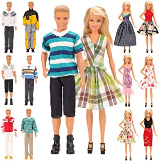 Miunana Random Lot 15 Items for Ken and 11.5 Inch Dolls EU CE-EN71 Certified Include 5 Sets Casual Wear Clothes + 5 Pcs Pants + 2 Shoes for Ken+ 3 Dress for 11.5 Inch Doll