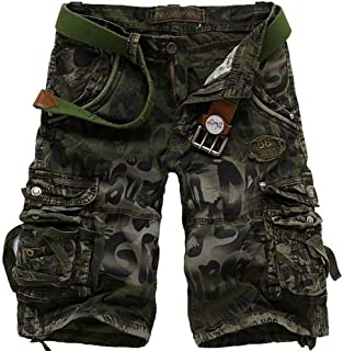 AbelWay Men's Cotton Camo Multi Pockets Outdoor Wear Casual Twill Camouflage Cargo Shorts