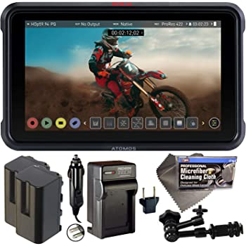 "Atomos Ninja V 5"" Touchscreen Recording Monitor 10bit HDR with 2X NP-F750 Batteries, Charger, 7"" Magic Arm + Cleaning Cloth Bundle"