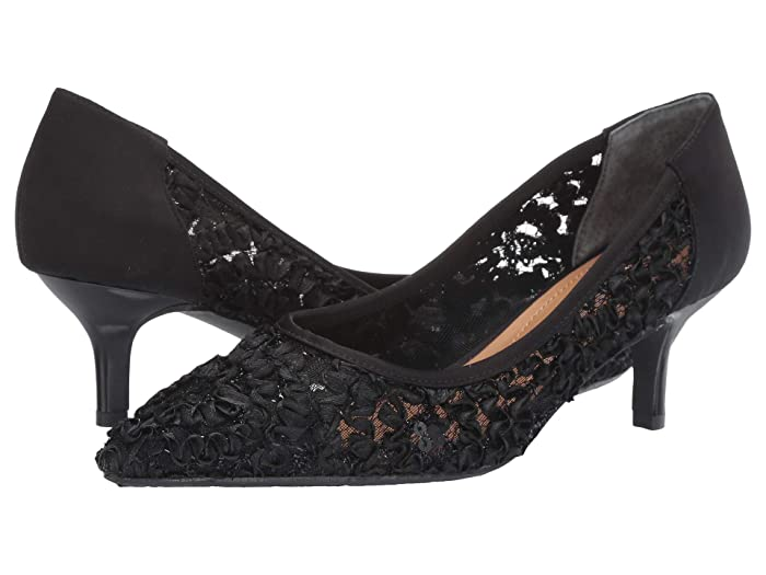 Vintage Style Shoes, Vintage Inspired Shoes J. Renee Daray Black Ribbon Lace High Heels $99.95 AT vintagedancer.com