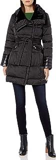 Via Spiga Women's Asymmetrical Puffer W/Belt & Faux-Fur Collar Trim