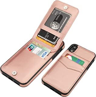 KIHUWEY iPhone XR Case Wallet with Credit Card Holder, Premium Leather Magnetic Clasp Kickstand Heavy Duty Protective Cover for iPhone XR 6.1 Inch (Rose Gold)
