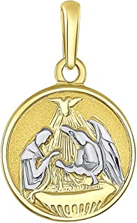 Solid 14k Yellow Gold Round Holy Spirit Baptism Charm Christening Pendant