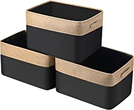 WEHUSE Large Fabric Storage Bins for Closet Shelf, 15.8 L x 12 W x 10 H Inch Rectangular Foldable Cloth Storage Basket, Se...